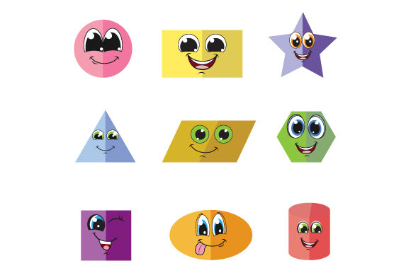 Print on Demand: Basic Shape Character Graphic Illustrations By curutdesign