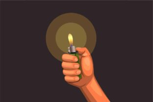 Print on Demand: Hand Hold Burning Lighter in the Dark. Graphic Illustrations By aryo.hadi