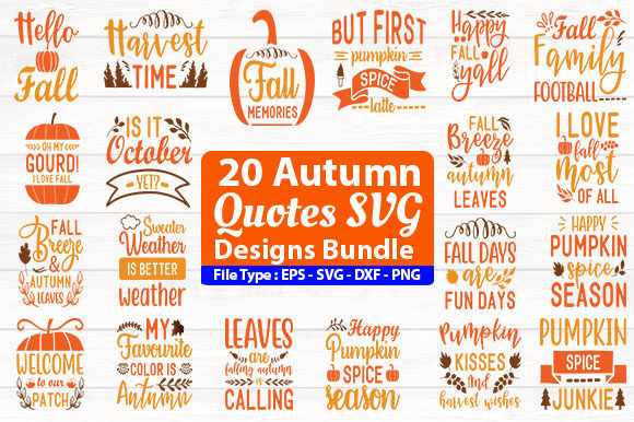 Print on Demand: Autumn Quotes Design Bundle Graphic Print Templates By Design Store