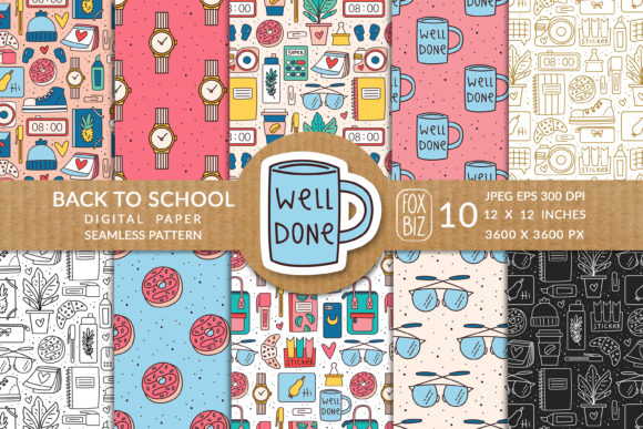 Print on Demand: Back to School Seamless Pattern. Vector. Graphic Patterns By FoxBiz