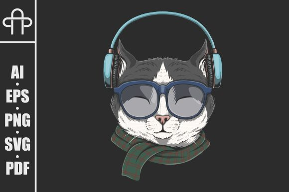 Print on Demand: Cat Wears Headphones Illustration Graphic Illustrations By Andypp