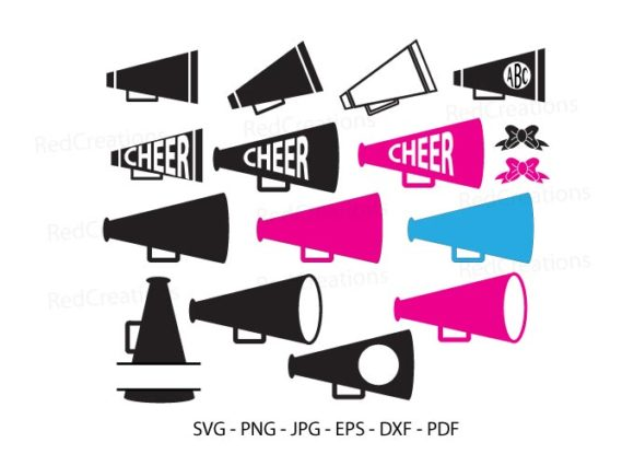 Cheer Megaphone Monogram, Cheer Svg Graphic Crafts By RedCreations