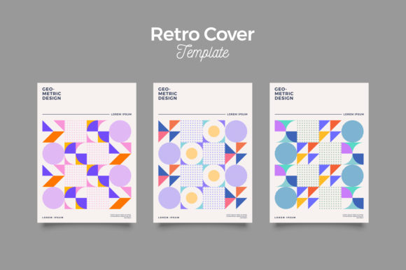 Print on Demand: Covers Templates Set with Bauhaus Retro Graphic Print Templates By Novendi88
