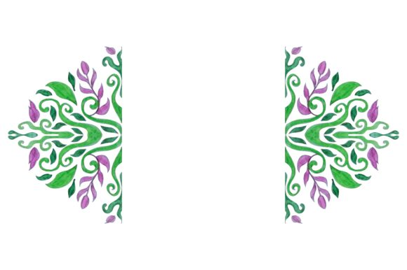 Print on Demand: Flora Ornament Border with Watercolor Graphic Crafts By Arsa Adjie