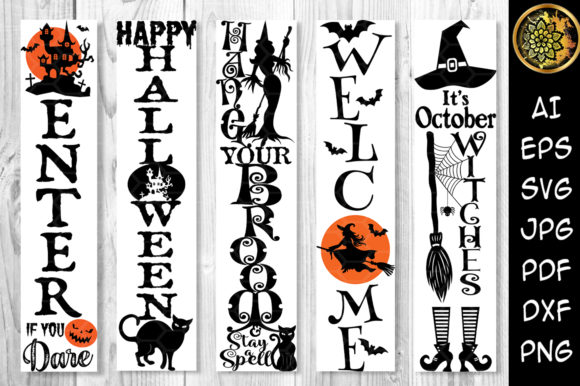 Print on Demand: Halloween Home Porch Sign SVG V.1 Graphic Illustrations By V-Design Creator