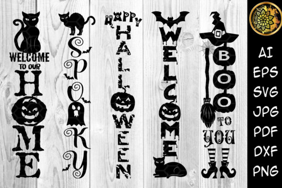 Print on Demand: Halloween Home Porch Sign SVG V.2 Graphic Illustrations By V-Design Creator