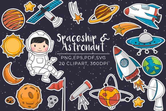 Print on Demand: Hand Drawn Spaceship and Astronaut Set Graphic Illustrations By OrchidArt