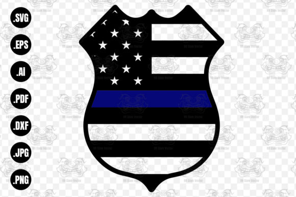 Print on Demand: Police Wife Flag Badge SVG Clipart Graphic Print Templates By 99 Siam Vector