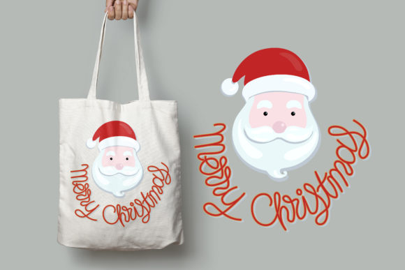 Santa with Merry Christmas Lettering. Graphic Illustrations By baigern