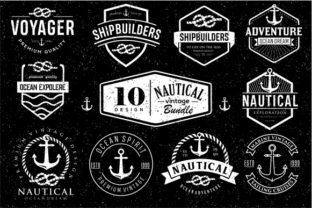 Print on Demand: Set of Nautical Logo Badges and Labels Graphic Logos By blueberry 99d