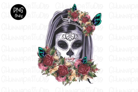 Skull Sunflowers Wreath,Day of the Dead, Graphic Print Templates By CSDesign