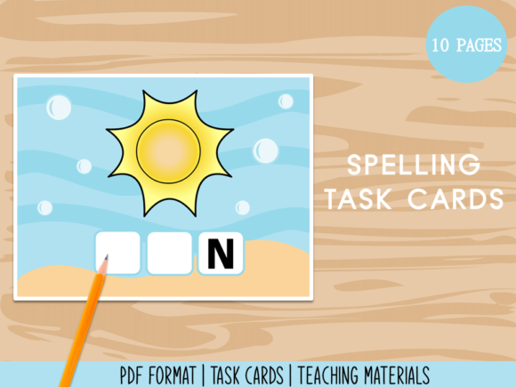 Spelling Task Cards - Teaching Materials Graphic K By Miss Cherry Designs