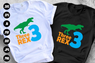 Print on Demand: Three Rex 3rd Birthday Graphic Print Templates By 99SiamVector