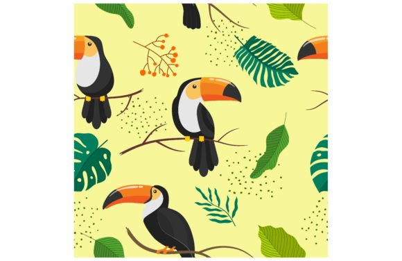 Tropical Seamless Pattern with Toucans. Graphic Backgrounds By etinurhayati0586
