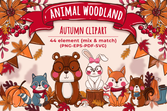 Print on Demand: Animal Woodland & Element Autumn Clipart Graphic Illustrations By OrchidArt