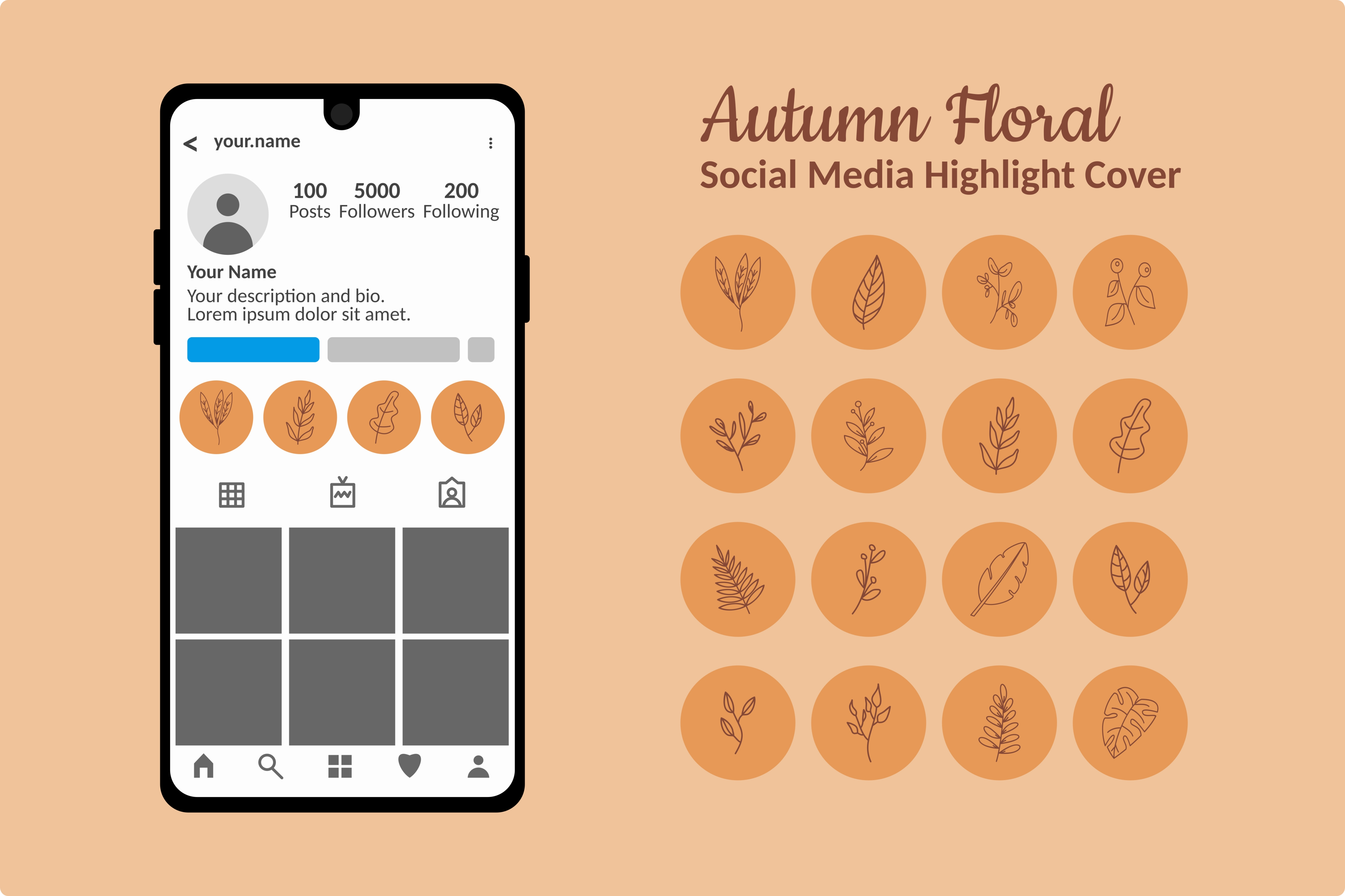 Autumn Or Fall Instagram Highlight Story Graphic By Byfdani Creative Fabrica