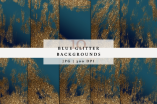Print on Demand: 10 Blue Glitter Backgrounds Graphic Backgrounds By SagaDesignStudio