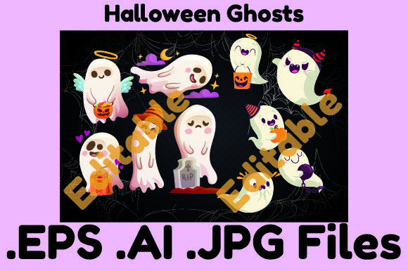 10Ghosts for Halloween Collection Vector Graphic Illustrations By KDP_Interior_101