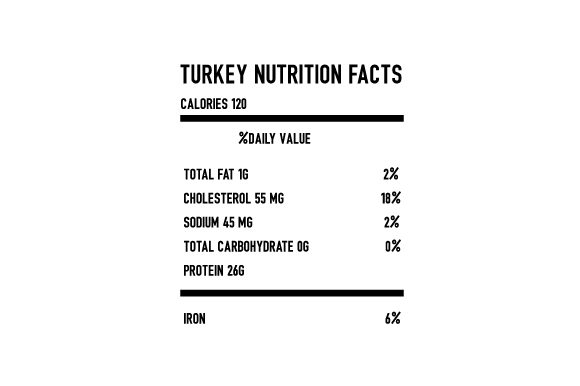 Turkey Nutrition Facts Thanksgiving Craft Cut File By Creative Fabrica Crafts