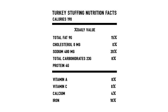 Stuffing Nutrition Facts Thanksgiving Craft Cut File By Creative Fabrica Crafts