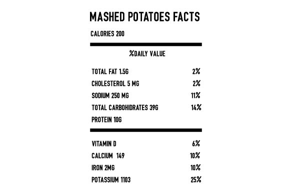 Mashed Potatoes Nutrition Facts Thanksgiving Craft Cut File By Creative Fabrica Crafts