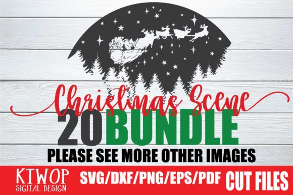 Print on Demand: 20 Christmas Scene with Santa Bundle Graphic Crafts By KtwoP