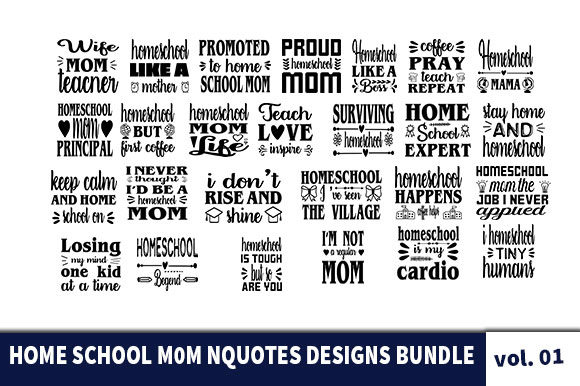 Print on Demand: 30 Homeschool Mom Quotes Designs Bundle Graphic Print Templates By Star_Graphics