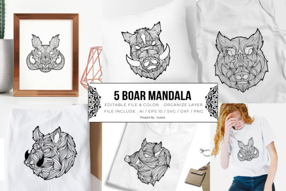 Print on Demand: 5 Boar Bundle | Mandala Grafik Plotterdateien von Vunira