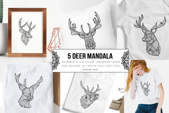 Print on Demand: 5 Deer Bundle | Mandala Graphic Crafts By Vunira