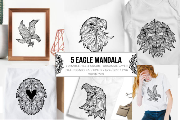 Print on Demand: 5 Eagle Bundle | Mandala Grafik Plotterdateien von Vunira
