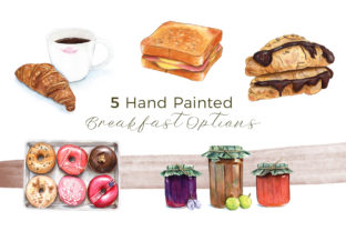 5 Hand Painted Cozy Breakfast Options Graphic Illustrations By Miriam Figueras Illustration