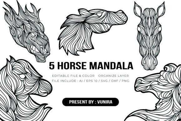 Print on Demand: 5 Horse Bundle | Mandala Graphic Crafts By Vunira