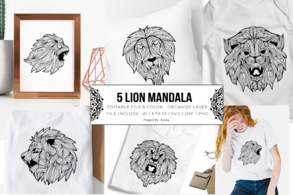 Print on Demand: 5 Lion Bundle | Mandala Graphic Crafts By Vunira
