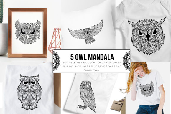 Print on Demand: 5 Owl Bundle | Mandala Gráfico Crafts Por Vunira