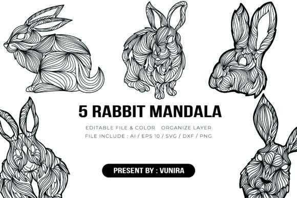 Print on Demand: 5 Rabbit Bundle | Mandala Graphic Crafts By Vunira