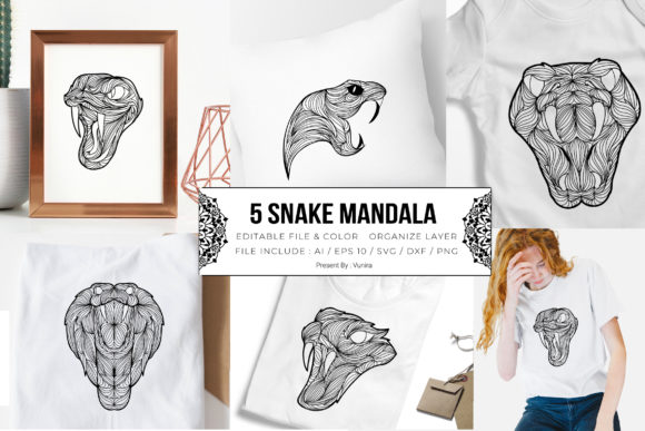 Print on Demand: 5 Snake Bundle | Mandala Gráfico Crafts Por Vunira