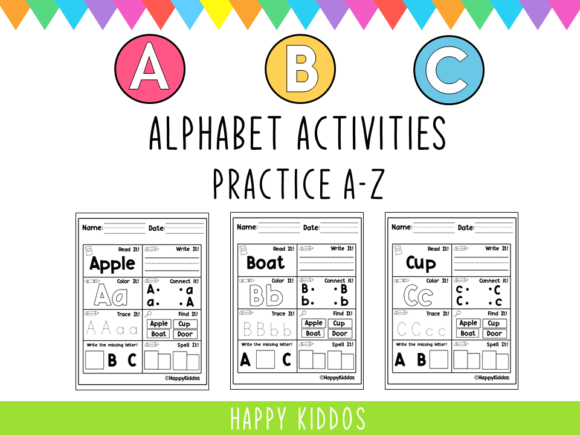 Alphabet Activities: Practice a-Z Graphic K By Happy Kiddos