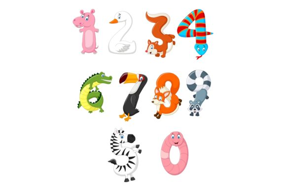 Animal Number Character Bundle Graphic Illustrations By tigatelusiji
