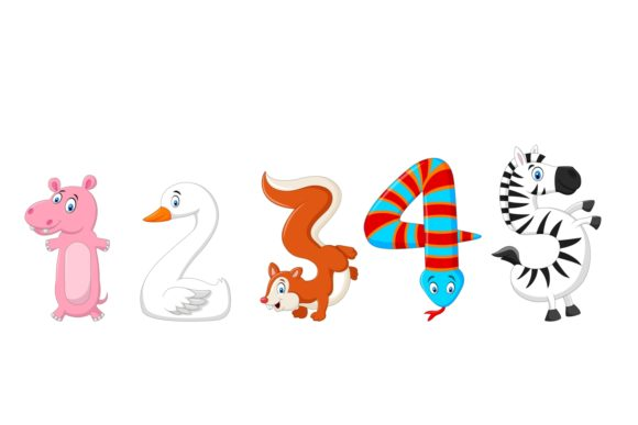 Animal Number Character Bundle Graphic Download