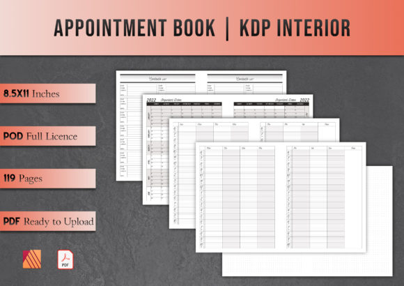 Print on Demand: Appointment Book | KDP Interior Graphic KDP Interiors By Kleio Design Studio