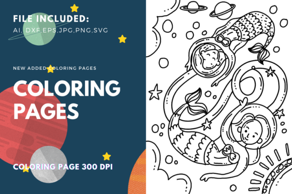 Print on Demand: Astronaut Mermaid Colorin Page Graphic Coloring Pages & Books Kids By stanosh