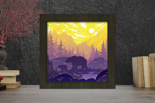 Print on Demand: Bear in the Forest Light Box Shadow Box Graphic 3D Shadow Box By LightBoxGoodMan