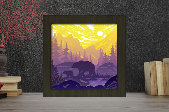 Bear in the Forest Light Box Shadow Box Graphic 3D Shadow Box By LightBoxGoodMan