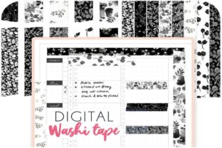 Black Floral Digital Washi Tape Graphic Objects By Alphabelli