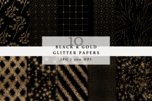 Black and Gold Glitter Backgrounds Graphic Backgrounds By SagaDesignStudio