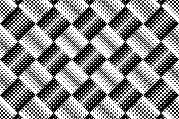Black and White Seamless Circle Pattern Gráfico Moldes Por davidzydd
