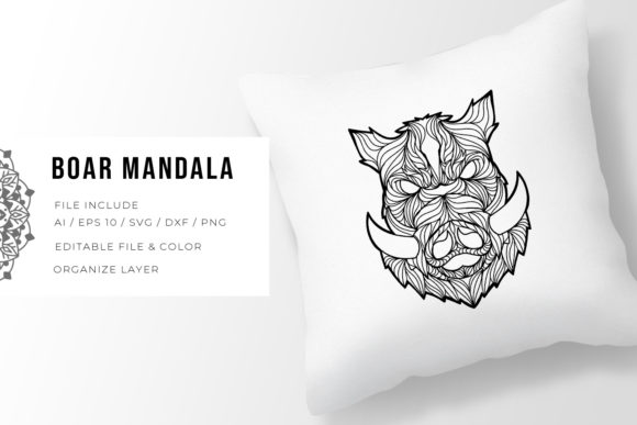 Print on Demand: Boar | Mandala Graphic Crafts By Vunira