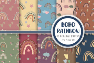 Boho Rainbow Pattern Digital Papers Graphic Patterns By PearlyDaisy