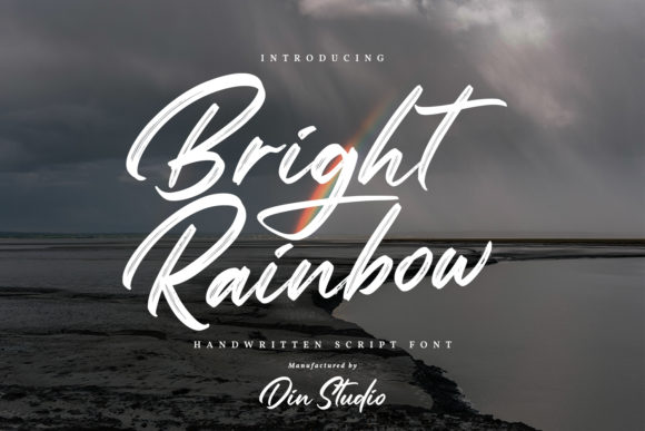 Print on Demand: Bright Rainbow Script & Handwritten Font By Din Studio