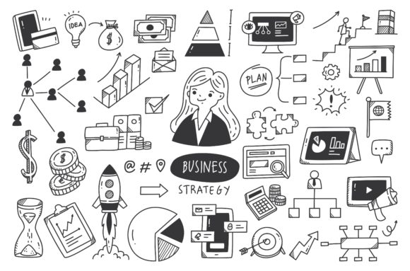 Business Strategy Doodle Set Vector Graphic Illustrations By Big Barn Doodles